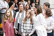 Victoria Federica de Marichalar, Queen Sofia of Spain, Crown Princess Leonor, Irene Urdangarin, Princess Sofia, Queen Letizia of Spain, Paloma Rocasolano are seen after going to see the 'Billy Elliot' theatre play on May 19, 2018 in Madrid, Spain
