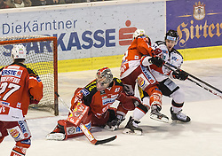 08.03.2015, Stadthalle, Klagenfurt, AUT, EBEL, EC KAC vs HC Orli Znojmo, 2. Spiel Playoff Viertelfinale, im Bild Thomas Hundertpfund (EC KAC, #27), Pekka Tuokkola (EC KAC, #83), Thomas Pöck (EC KAC, #22), Lubimor Stach (HC Orli Znojmo, #26)// during the Erste Bank Icehockey League 2nd game playoff quarterfinals match betweeen EC KAC and HC Orli Znojmo at the City Hall in Klagenfurt, Austria on 2015/02/20. EXPA Pictures © 2015, PhotoCredit: EXPA/ Gert Steinthaler