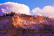 Evening light and fresh snow on Bryce Point, Bryce Canyon National Park, Utah
