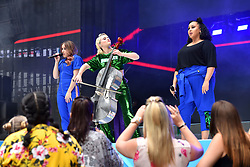 Anne-Marie and Clean Bandit during Capital's Summertime Ball with Vodafone at Wembley Stadium, London. This summer's hottest artists performed live for 80,000 Capital listeners at Wembley Stadium at the UK's biggest summer party. Performers included Camila Cabello, Shawn Mendes, Rita Ora, Charlie Puth, Jess Glyne, Craig David, Anne-Marie, Rudimental, Sean Paul, Clean Bandit, James Arthur, Sigala, Years & Years, Jax Jones, Raye, Jonas Blue, Mabel, Stefflon Don, Yungen and G-Eazy