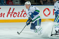 PENTICTON, CANADA - SEPTEMBER 8: Brock Boeser #6 of Vancouver Canucks stops on the ice against the Winnipeg Jets on September 8, 2017 at the South Okanagan Event Centre in Penticton, British Columbia, Canada.  (Photo by Marissa Baecker/Shoot the Breeze)  *** Local Caption ***