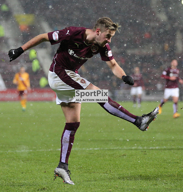 Hearts v Motherwell Scottish Premiership 16 January 2016; Billy King (Hearts, 12), who had a great game, shoots during the Heart of Midlothian v Motherwell Scottish Premiership match played at Tynecastle Stadium, Edinburgh; <br /> <br /> &copy; Chris McCluskie   SportPix.org.uk