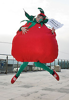 """Donal Egan from Roscommon Community College as a tomato  at the national finals of the """"FIRST LEGO League 2012"""", sponsored by SAP . The theme for this year's competition was food safety and 24 teams from all over the country took part. Photo:Andrew Downes"""