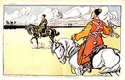 Nicholas II (1868-1919) Tsar of Russia from 1894, reviewing his Cossack troops at Loubet.  Cartoon by Caran d'Ache from 'Le Rire', 2 June 1902.
