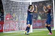 Edinson Roberto Paulo Cavani Gomez (psg) (El Matador) (El Botija) (Florestan) scored it penalty and celebrated it with Layvin Kurzawa (psg) during the French championship L1 football match between Paris Saint-Germain (PSG) and Toulouse Football Club, on August 20, 2017, at Parc des Princes, in Paris, France - Photo Stephane Allaman / ProSportsImages / DPPI