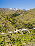 Looking down Skipper's Canyon, with the Richardson Mountains in the background, near Queenstown, Otago, New Zealand.  Skipper's Canyon is an historic gold mining area.