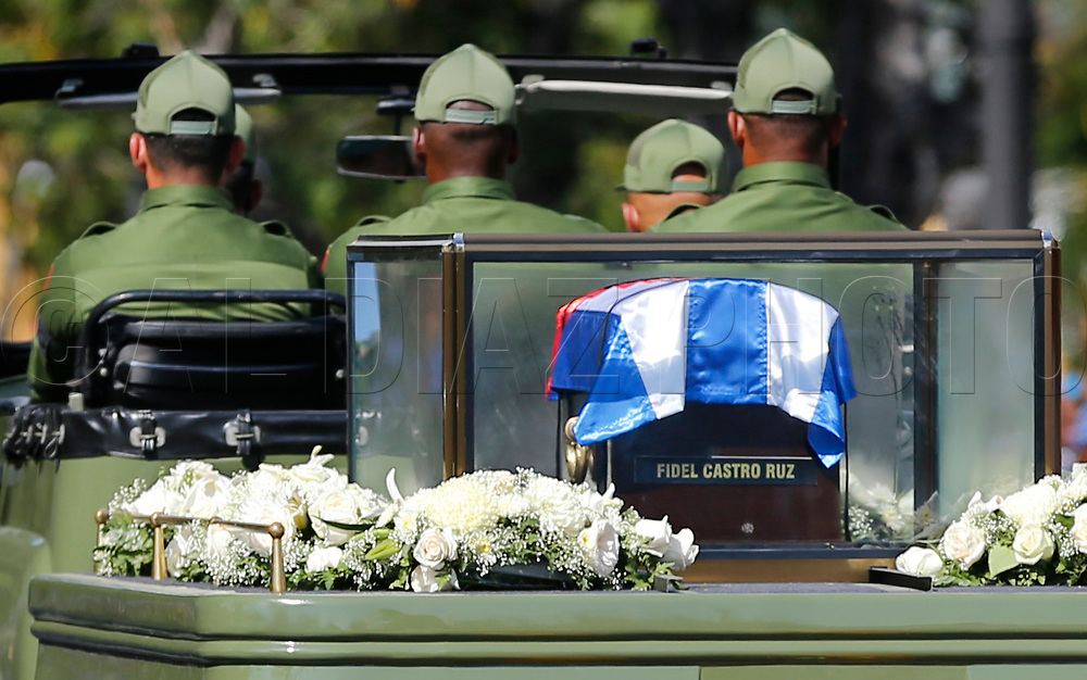 The ashes of Fidel Castro pass outside the Moncada Barracks, in Santiago de Cuba on Saturday, December 3, 2016. <br />