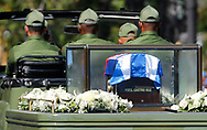 The ashes of Fidel Castro pass outside the Moncada Barracks, in Santiago de Cuba on Saturday, December 3, 2016. <br /> On 26 July 1953, the barracks was the site of an armed attack by a small group of revolutionaries led by Fidel Castro. This armed attack is widely accepted as the beginning of the Cuban Revolution.