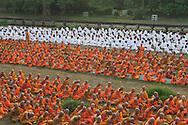 Monks at early morning prayers, Angkor Wat, Siem Reap, Cambodia
