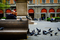 A couple feeding pigeons in the Piazza Minghetti, Bologna, Italy<br /> <br /> (c) Andrew Wilson | Edinburgh Elite media