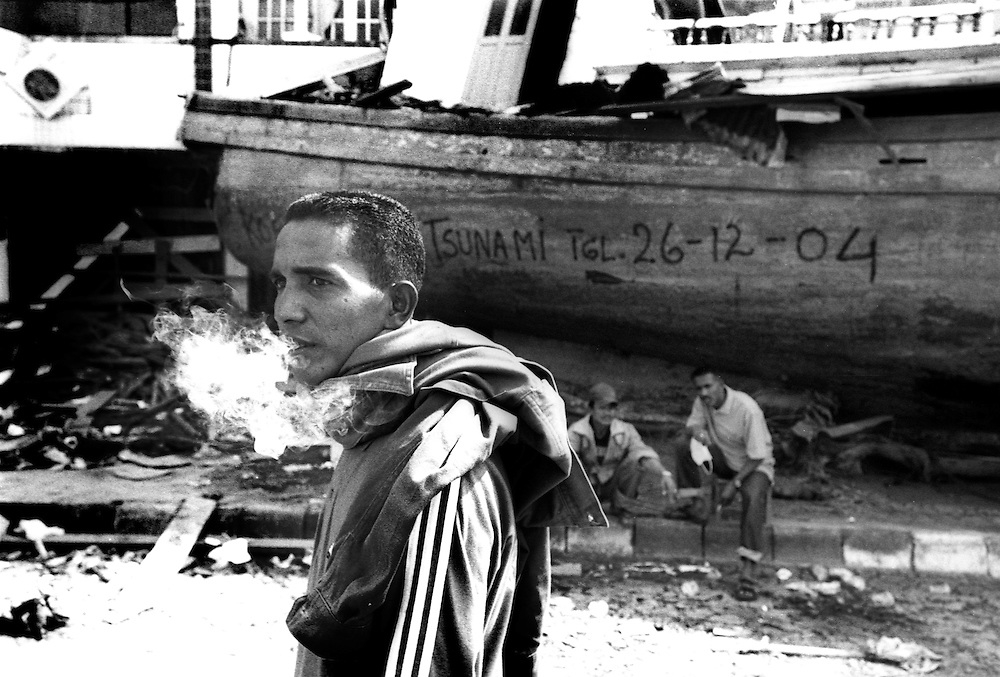 Many of Banda's fishing fleet ended up in the streets of the Tsunami devastated city of Banda Aceh. January 4 2005.