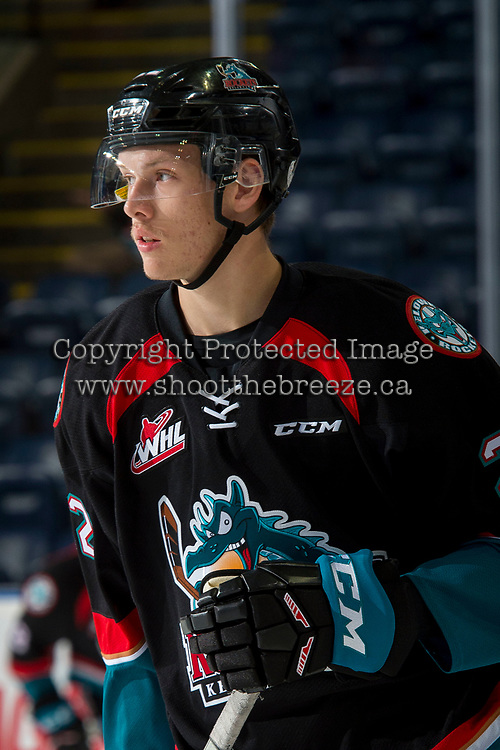 KELOWNA, CANADA - SEPTEMBER 22: Braydyn Chizen #22 of the Kelowna Rockets warms up against the Kamloops Blazers on September 22, 2017 at Prospera Place in Kelowna, British Columbia, Canada.  (Photo by Marissa Baecker/Shoot the Breeze)  *** Local Caption ***