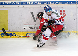 13.04.2019, Keine Sorgen Eisarena, Linz, AUT, Euro Hockey Challenge, Österreich vs Tschechien, Länderspiel, im Bild v.l. Stürmer Fabio Hofer (AUT), Hynek Zohorna (CZE) // during the international friendly match between Austria and Czech Republic, as part of the Euro Hockey Challenge at the Keine Sorgen Eisarena in Linz, Austria on 2019/04/13. EXPA Pictures © 2019, PhotoCredit: EXPA/ Reinhard Eisenbauer