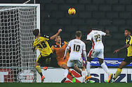 Benik Afobe of MK Dons scores his sides third goal to make the scoreline 3-0 during the Sky Bet League 1 match between Milton Keynes Dons and Colchester United at stadium:mk, Milton Keynes<br /> Picture by Richard Blaxall/Focus Images Ltd +44 7853 364624<br /> 29/11/2014