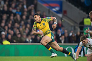 Twickenham, United Kingdom, Saturday, 24th  November 2018, RFU, Rugby, Stadium, England, Australian, Full, Back, Israel Folau, breaks, through, to go on a acore a try, during the Quilter Autumn International, England vs Australia, © Peter Spurrier