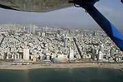 aerial photography of Tel Aviv, Israel as seen from west over the sea