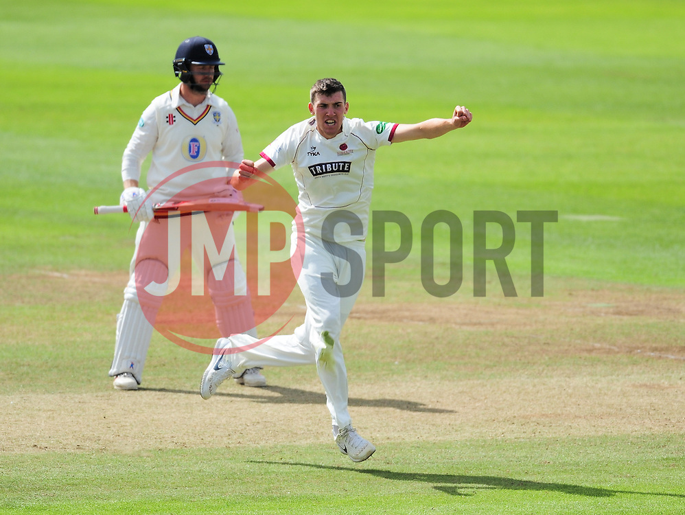 Craig Overton of Somerset celebrates the wicket of Scott Borthwick.  - Mandatory by-line: Alex Davidson/JMP - 05/08/2016 - CRICKET - The Cooper Associates County Ground - Taunton, United Kingdom - Somerset v Durham - County Championship - Day 2