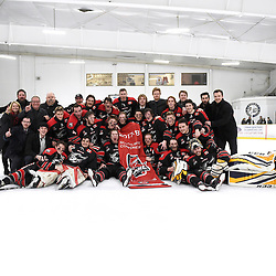 TORONTO, ON  - APR 10,  2018: Ontario Junior Hockey League, South West Conference Championship Series. Game seven of the best of seven series between Georgetown Raiders and the Toronto Patriots. The 2017-2018 South West Conference Champions Georgetown Raiders.<br /> (Photo by Andy Corneau / OJHL Images)