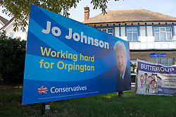 ©Licensed to London News Pictures 04/09/2019.<br /> Orpington ,UK.  Jo Johnson banner outside Orpington Conservative Association HQ. Orpington MP and universities minister Jo Johnson has resigned. Jo Johnson is the brother of Prime minister Boris Johnson.  Photo credit: Grant Falvey/LNP