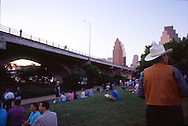waiting for bats to emerge at the Congress St. Bridge