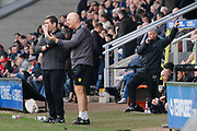 Nottingham Forest interim manager Gary Brazil, Burton Albion manager Nigel Clough and Burton Albion coach Andy Garner during the EFL Sky Bet Championship match between Burton Albion and Nottingham Forest at the Pirelli Stadium, Burton upon Trent, England on 11 March 2017. Photo by Richard Holmes.
