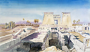 Karnak', 1863. Watercolour. Charles Vacher (1818-1883), British artist. Ancient Egypt Archaeology Ruins