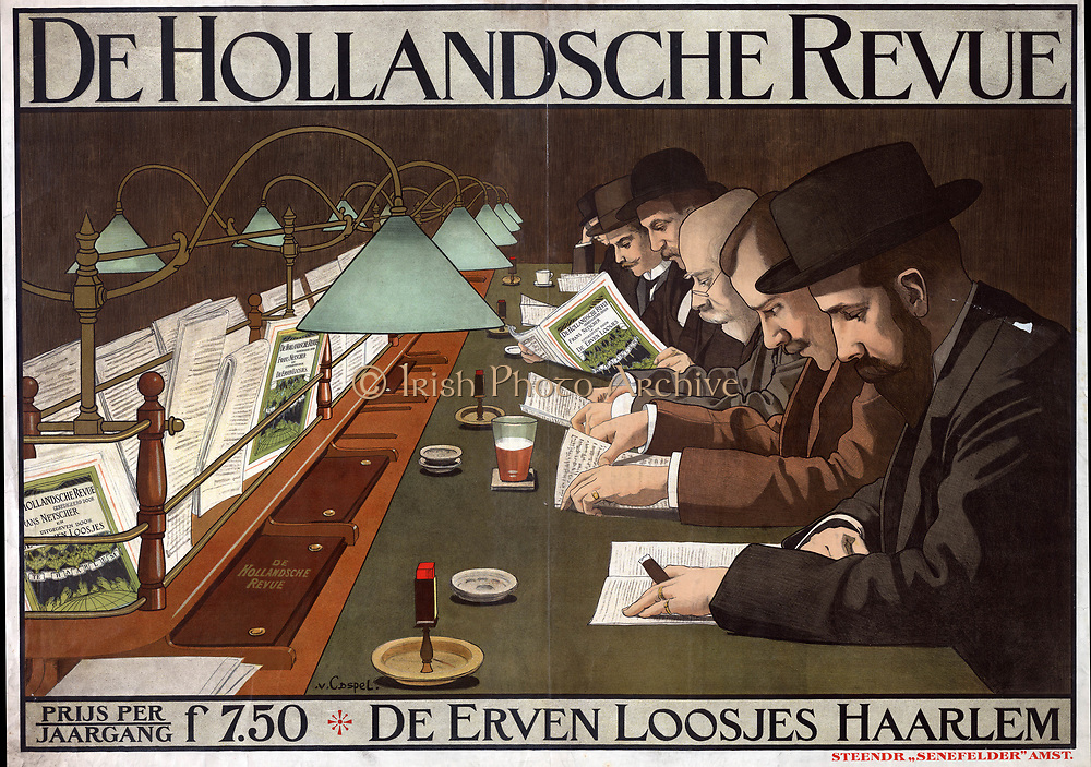 Advertisement for 'De Hollandsche Revue', 1910, Dutch periodical, showing men sitting  at a long desk reading the Revue to light of electric lamps. Artist, Johann Georg van Caspel (1870-1928). Chromolithograph Cigar Matches Beer Coffee Chromolithograph