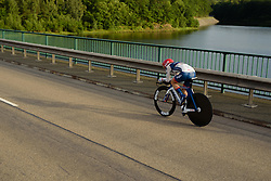 Nicole Hanselmann (Cervélo Bigla) back across the bridge as the sun begins to set at Thüringen Rundfarht 2016 - Stage 4 a 19km time trial starting and finishing in Zeulenroda Triebes, Germany on 18th July 2016.