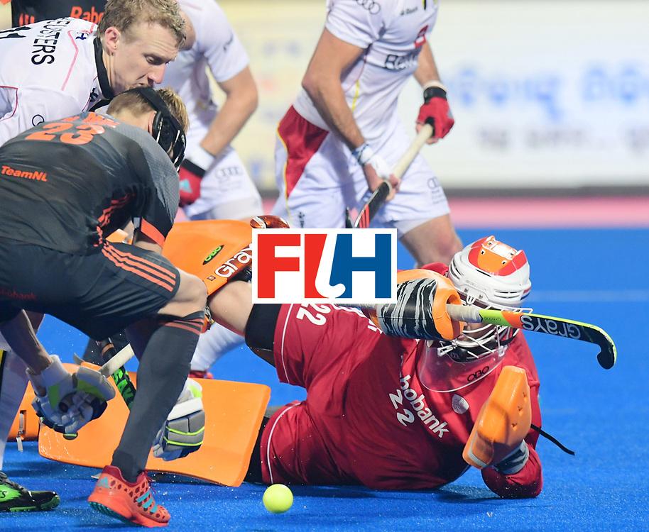 Odisha Men's Hockey World League Final Bhubaneswar 2017<br /> Match id:12<br /> Belgium v Netherlands<br /> Foto: Amaury Keusters (Bel) Joep de Mol (Ned) and keeper Sam van der Ven (Ned) <br /> COPYRIGHT WORLDSPORTPICS FRANK UIJLENBROEK