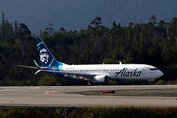 Boeing 737-870 (N517AS) operated by Alaska Airlines lined up for take off on runway 29, Ketchikan International Airport (PAKT), Ketchikan, Alaska, United States of America
