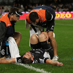 DURBAN, SOUTH AFRICA, 9,JULY, 2016 Deane Macquet (Physiotherapist) with DR Alan Kourie look at Keegan Daniel of the Cell C Sharks during The Cell C Sharks vs Toyota Cheetahs  Super Rugby Match at Growthpoint Kings Park in Durban, South Africa. (Photo by Steve Haag)<br /> <br /> images for social media must have consent from Steve Haag