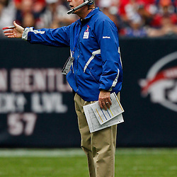 October 10, 2010; Houston, TX USA; New York Giants head coach Tom Coughlin reacts to an officials call during the first half of a game against the Houston Texans at Reliant Stadium. Mandatory Credit: Derick E. Hingle