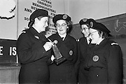 31/03/1963<br /> 03/31/1963<br /> 31 March 1963<br /> Civil Defence Competitions at Jervis Street Hospital, Dublin sponsored by W.D. &amp; H.O. Wills Ltd., for the Gold Flake Trophy. Miss Frances Todd, (left) Leader of the winning Dublin Area 3 (Rathmines) team in the Civil Defence Casualty Section Competitions showing the trophy to her team, Miss Carmel Doyle; Miss Eithne McManus and Mrs F. Brierton.