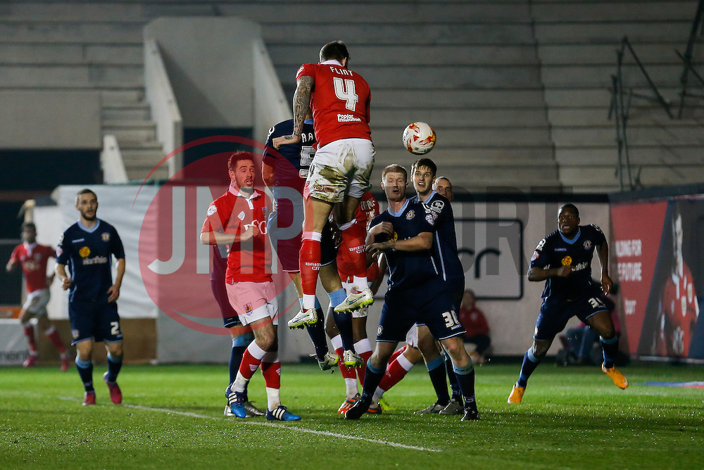 Aden Flint of Bristol City scores a goal with a header to make it 2-0 - Photo mandatory by-line: Rogan Thomson/JMP - 07966 386802 - 17/03/2015 - SPORT - FOOTBALL - Bristol, England - Ashton Gate Stadium - Bristol City v Crewe Alexandra - Sky Bet League 1.