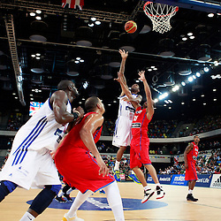 GB men vs Puerto Rico basketball at the Copper Box Arena. Andrew (Drew) Sullivan (08)  offensive rebound. 11/08/2013 (c) MATT BRISTOW