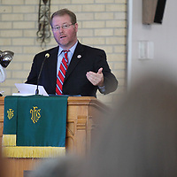 Tupelo Mayor Jason Shelton welcomes those in attendance at the City of Tupelo's Community Thanksgiving Service that was held Wednesday morning at Lane Chapel CME Church in Tupelo.