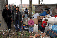 Roma 16 Dicembre 2004.Sgomberata la baraccopoli  abitata da rom romeni all'interno della ex fabbrica Snia, al quartiere Prenestino.Rome December 16, 2004.Vacated Rom's  illegal camp  inhabited by Romanian Roma in the former factory Snia district Prenestino