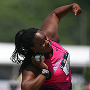 CARTER - 13USA, Des Moines, Ia. - Michelle Carter set an American record in the shot on this throw.   Photo by David Peterson