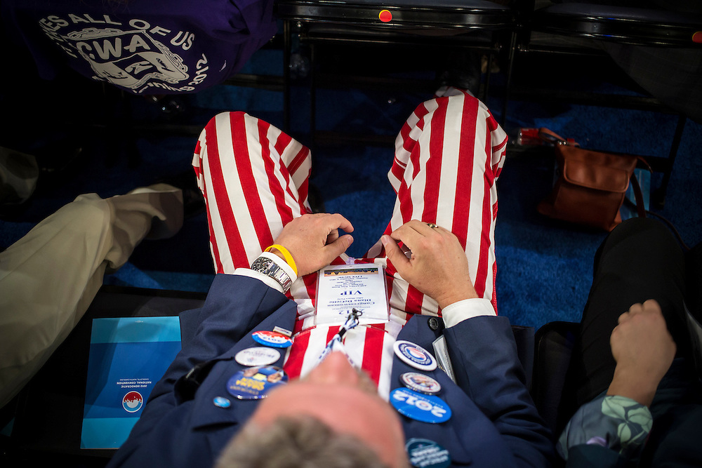 Tim Kubik, a delegate from Berthoud, Colorado, wears striped pants on the floor of the Democratic National Convention on Tuesday, September 4, 2012 in Charlotte, NC.