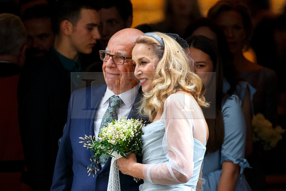 © Licensed to London News Pictures. 05/03/2016. London, UK. Rupert Murdoch and Jerry Hall leaving their wedding ceremony at St Bride's Church in Fleet Street, London on Saturday, 5 March 2016. Photo credit: Tolga Akmen/LNP