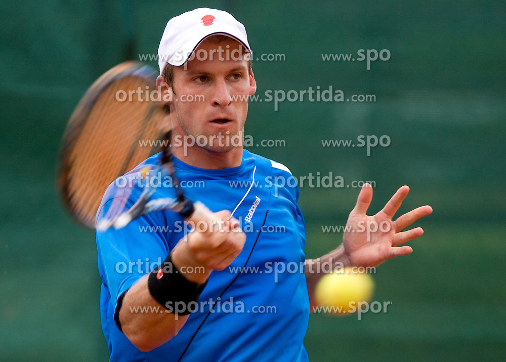 Grega Zemlja of Slovenia at 2nd Round of 2nd Euroafrican group of Davis cup tennis match between Slovenia and Lithuania, on July 10 2009, in Otocec, Novo mesto, Slovenia. (Photo by Vid Ponikvar / Sportida)