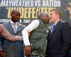 September 19, 2007; New York, NY, USA; World Welterweight Champion Floyd Mayweather Jr (l) and World Junior Welterweight Champion Ricky Hatton (r) pose at the press conference announcing their December 8, 2007 fight.  The fight will take place at the MGM Grand Garden Arena in Las Vegas, Nevada.