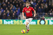 Manchester United Defender Luke Shaw during the Premier League match between Cardiff City and Manchester United at the Cardiff City Stadium, Cardiff, Wales on 22 December 2018.