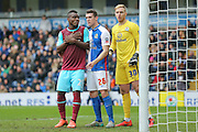 West Ham United forward, on loan from Fenerbahce, Emmanuel Emenike  , Blackburn Rovers defender Darragh Lenihan  and Blackburn Rovers goalkeeper Jason Steele await the corner during the The FA Cup match between Blackburn Rovers and West Ham United at Ewood Park, Blackburn, England on 21 February 2016. Photo by Simon Davies.