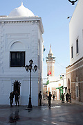 Tunis, Tunisia. January 30th 2011.The Kasbah is been completely repainted and cleaned up after Tunisian riot police destroyed the makeshift camp set up for 5 days by anti-government protesters outside the prime minister's office on Friday January 28th 2011.....