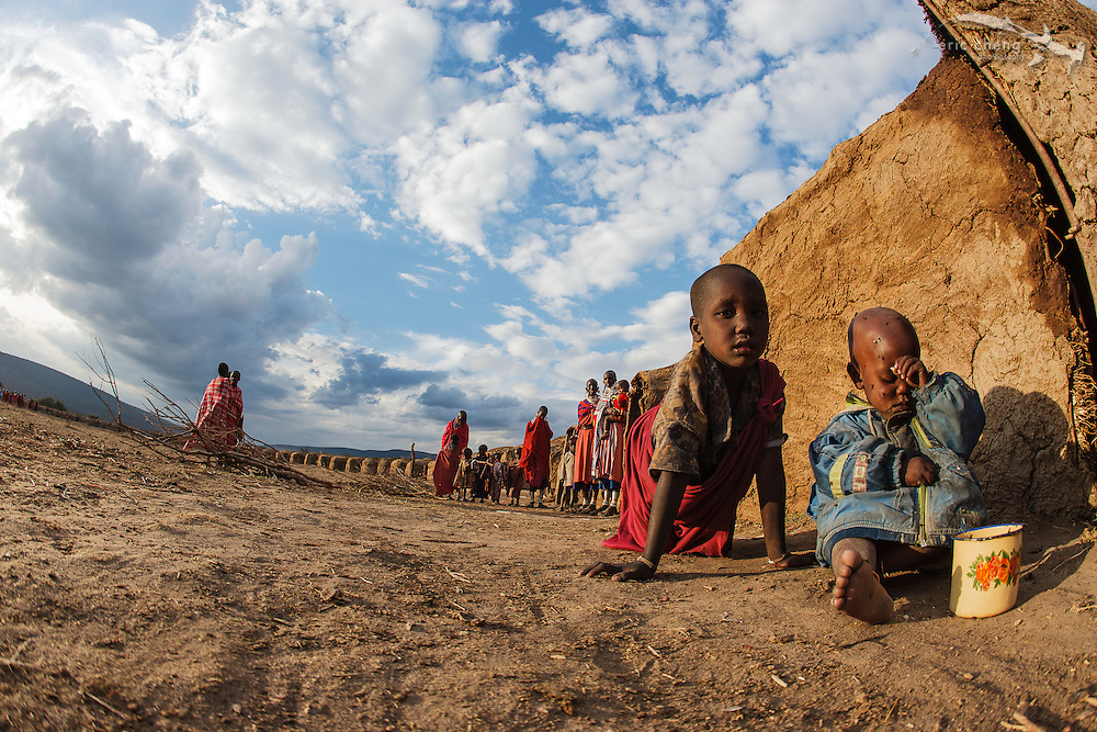 The temporary homes erected during a manyatta, an extended Maasai party in which rites of passage are performed. Near Loliondo, Tanzania.