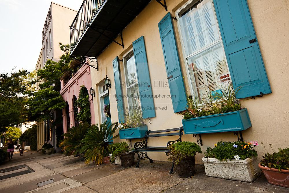 Rainbow row historic houses along Battery Street Charleston, SC.