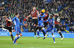 Cardiff City's Kenwyne Jones competes to head the ball towards the Brighton net - Photo mandatory by-line: Paul Knight/JMP - Mobile: 07966 386802 - 10/02/2015 - SPORT - Football - Cardiff - Cardiff City Stadium - Cardiff City v Brighton & Hove Albion - Sky Bet Championship