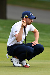 May 3, 2019 - Charlotte, NC, U.S. - CHARLOTTE, NC - MAY 03: Daniel Berger checks the green hole 10 in round two of the Wells Fargo Championship on May 03, 2019 at Quail Hollow Club in Charlotte,NC. (Photo by Dannie Walls/Icon Sportswire) (Credit Image: © Dannie Walls/Icon SMI via ZUMA Press)