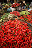 Chilis displayed on a local market of Hue, Vietnam, Southeast Asia